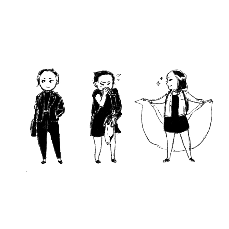 Cartoon me wearing three different outfits.