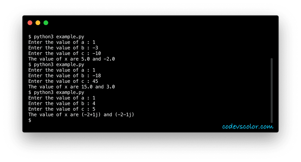 python quadratic equation example