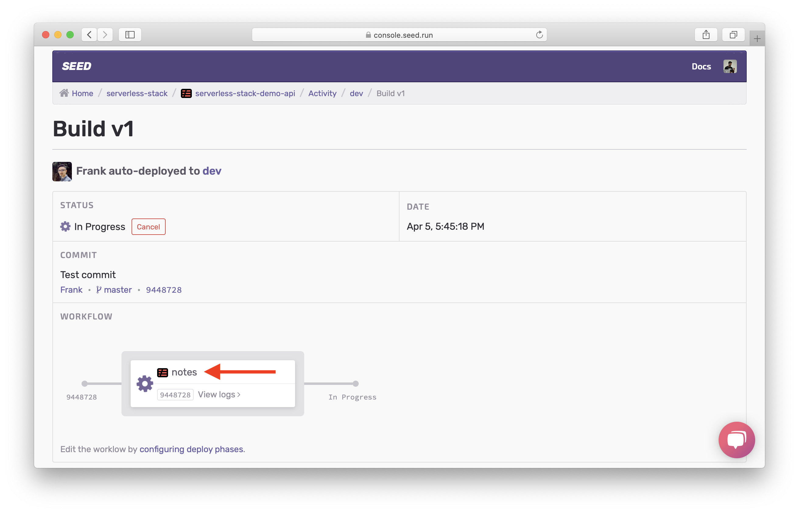 Dev build page in progress screenshot