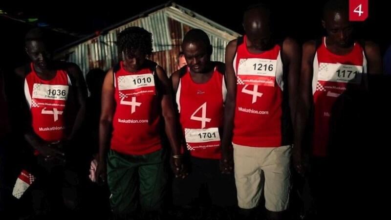 Samen bidden voor de start van de Muskathlon