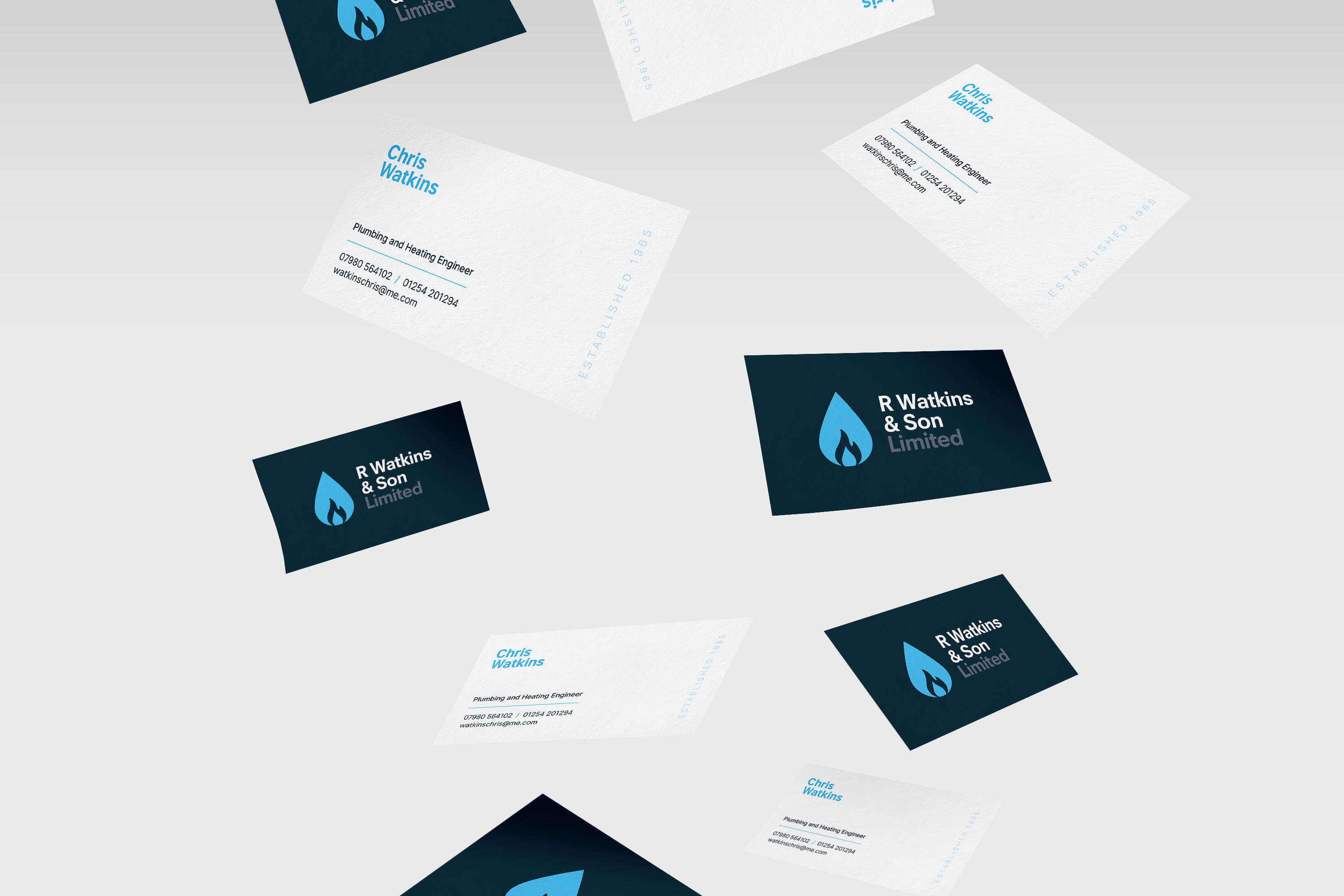 Business card design for established plumbing and heating business, R Watkins & Son Limited