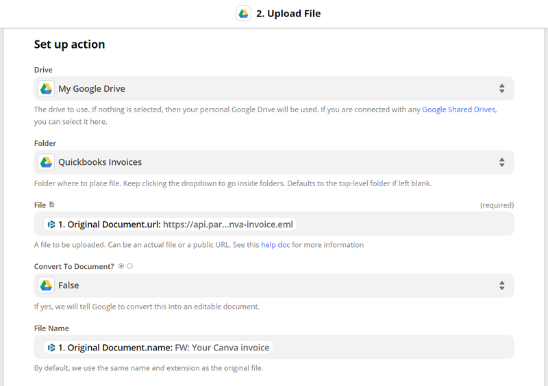 customize fields in Zapier to send the original email to Google Drive