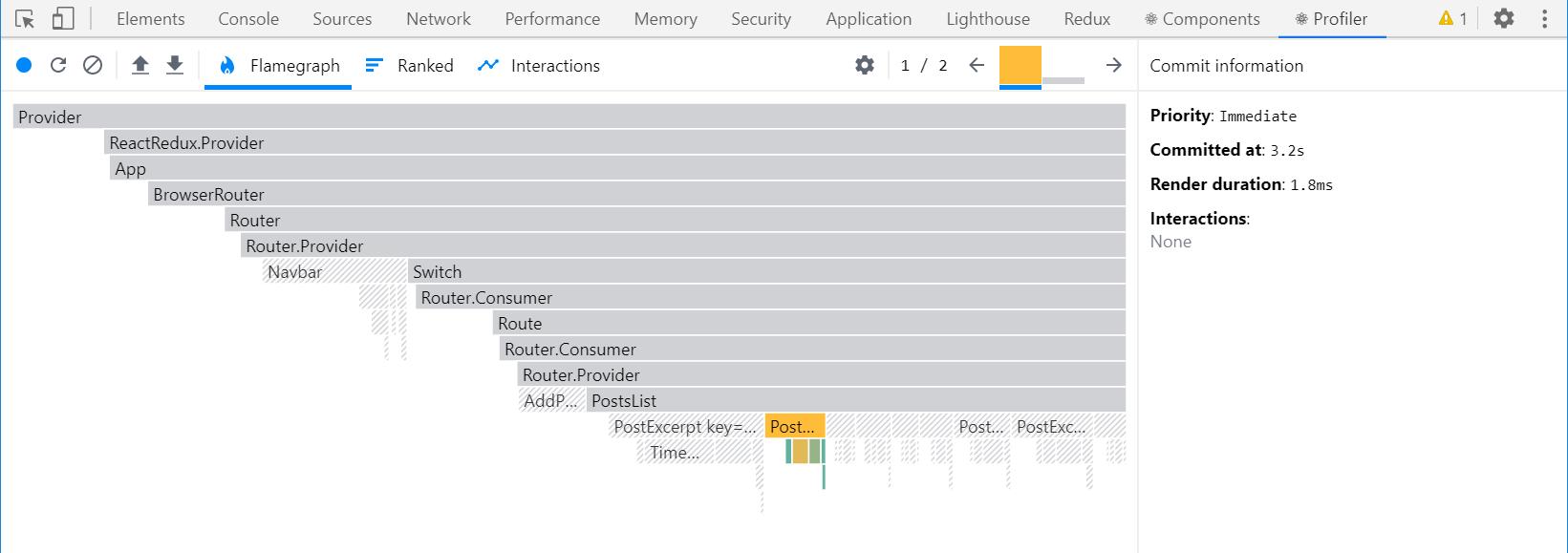 React DevTools Profiler render capture - optimized <PostsList>