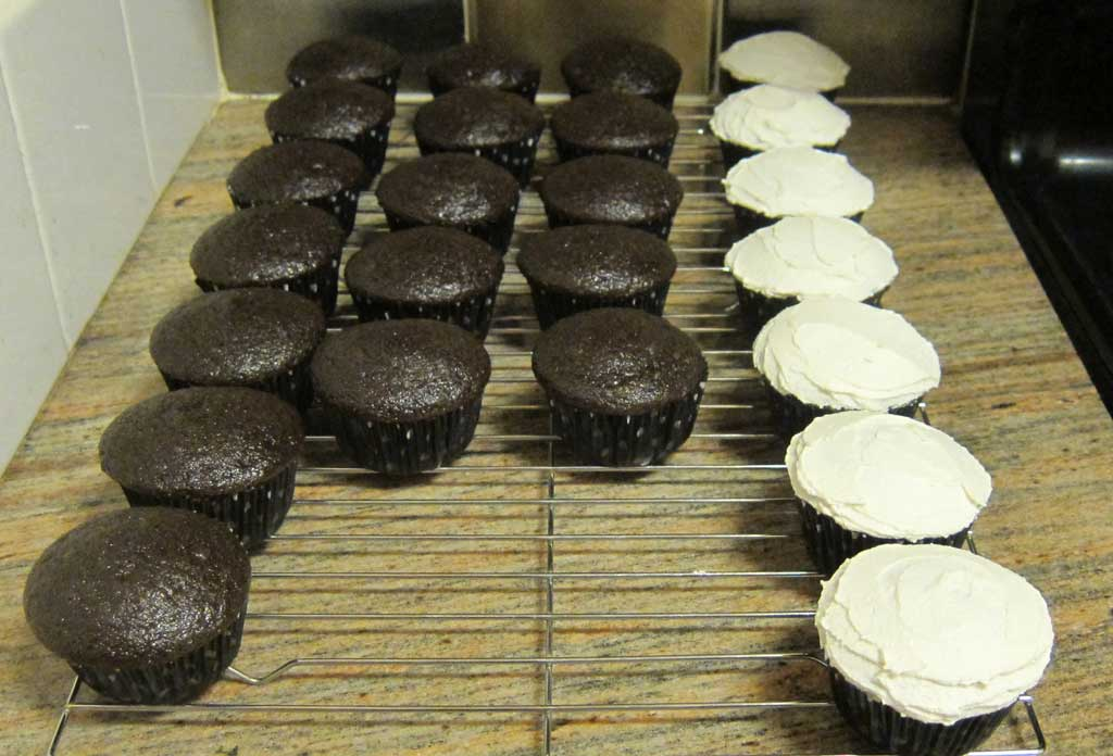 Chocolate cupcakes w/ almond icing