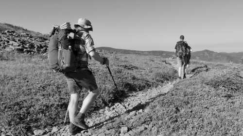 Walking across a barren part of Indian Mountain