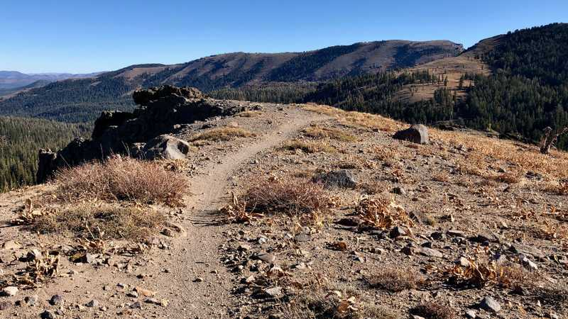 The PCT goes over a ridge