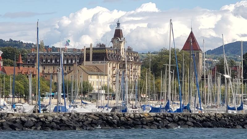 Our hotel at the edge of Lake Geneva