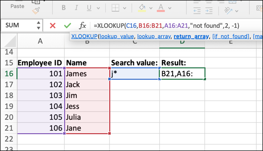 An Excel spreadsheet containing four columns of data: Employee Name, ID, Email Address, and Job Role. In this instance, a wildcard value has been set as the lookup value