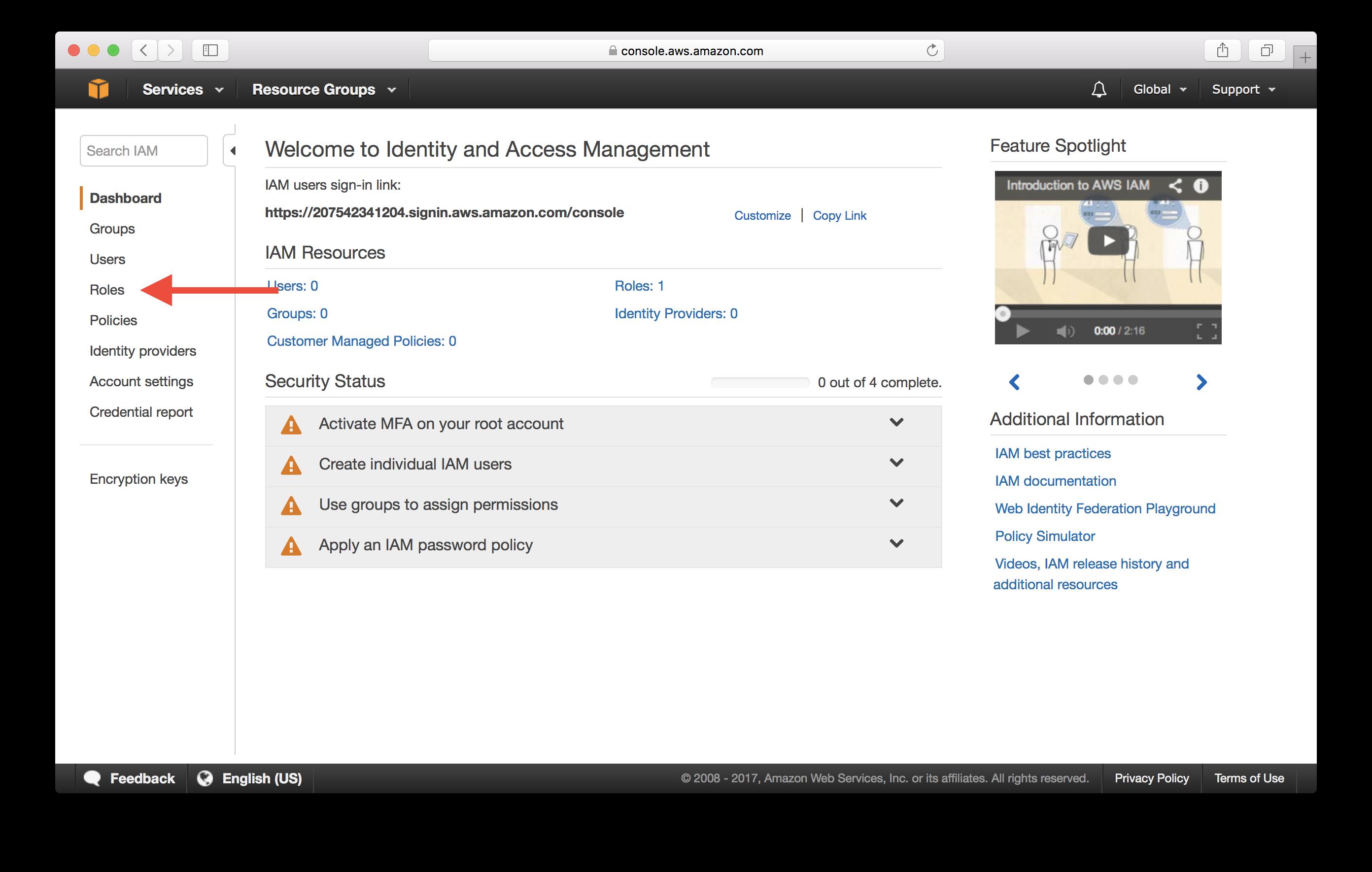Select IAM Roles Screenshot