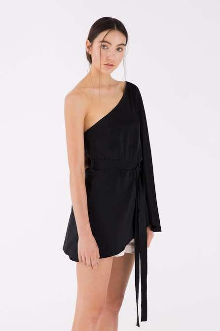 One Shoulder Silk Top
