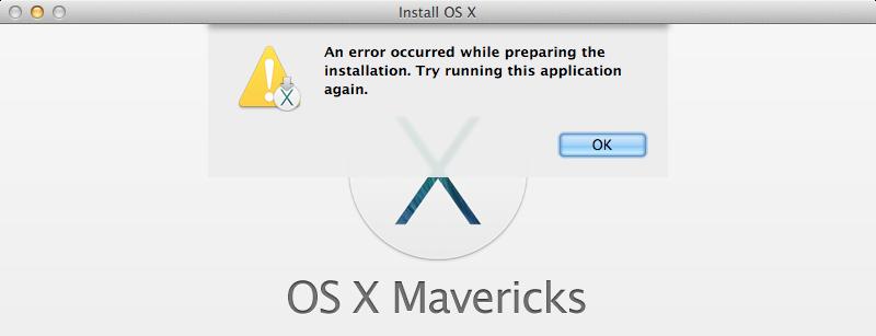 Screenshot of the Mavericks installer window