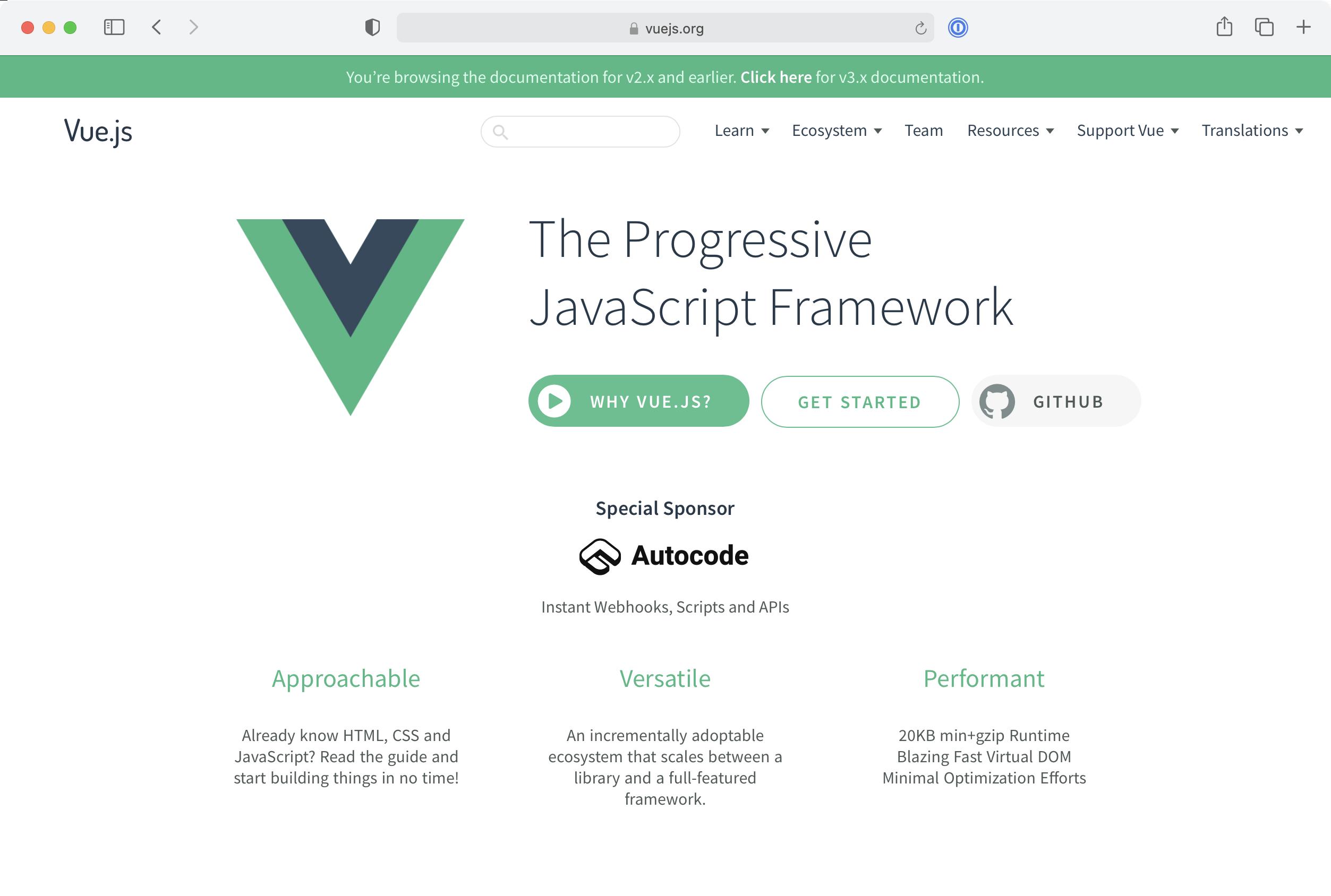 Vue.js home page