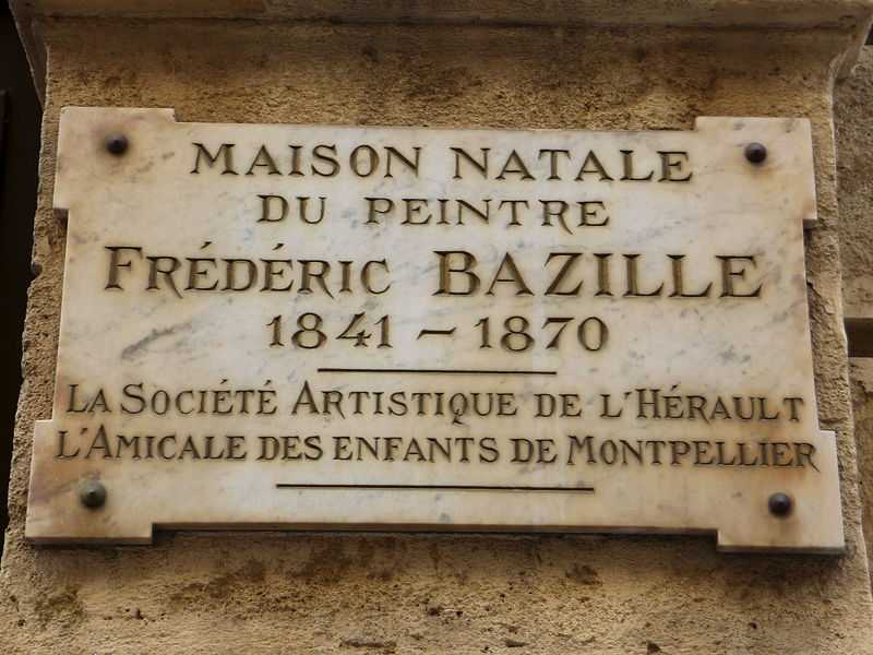 A plaque commemorating the birth place of artist Frédéric Bazille at the l'Hôtel Périer in Montpellier (© Albertvillanovadelmoral, CC BY-SA 3.0)