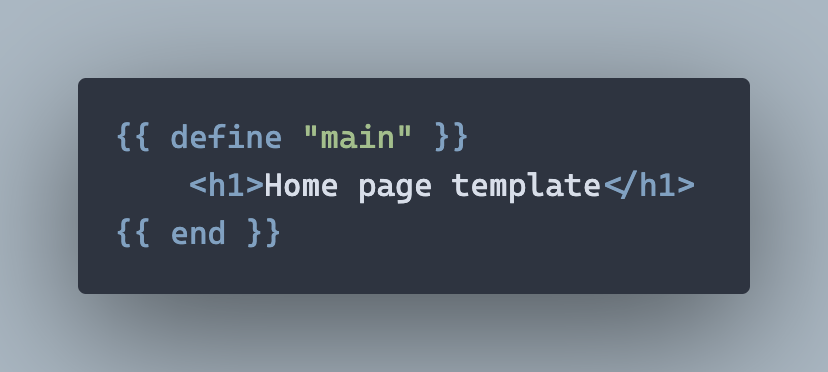 A simple home page template
