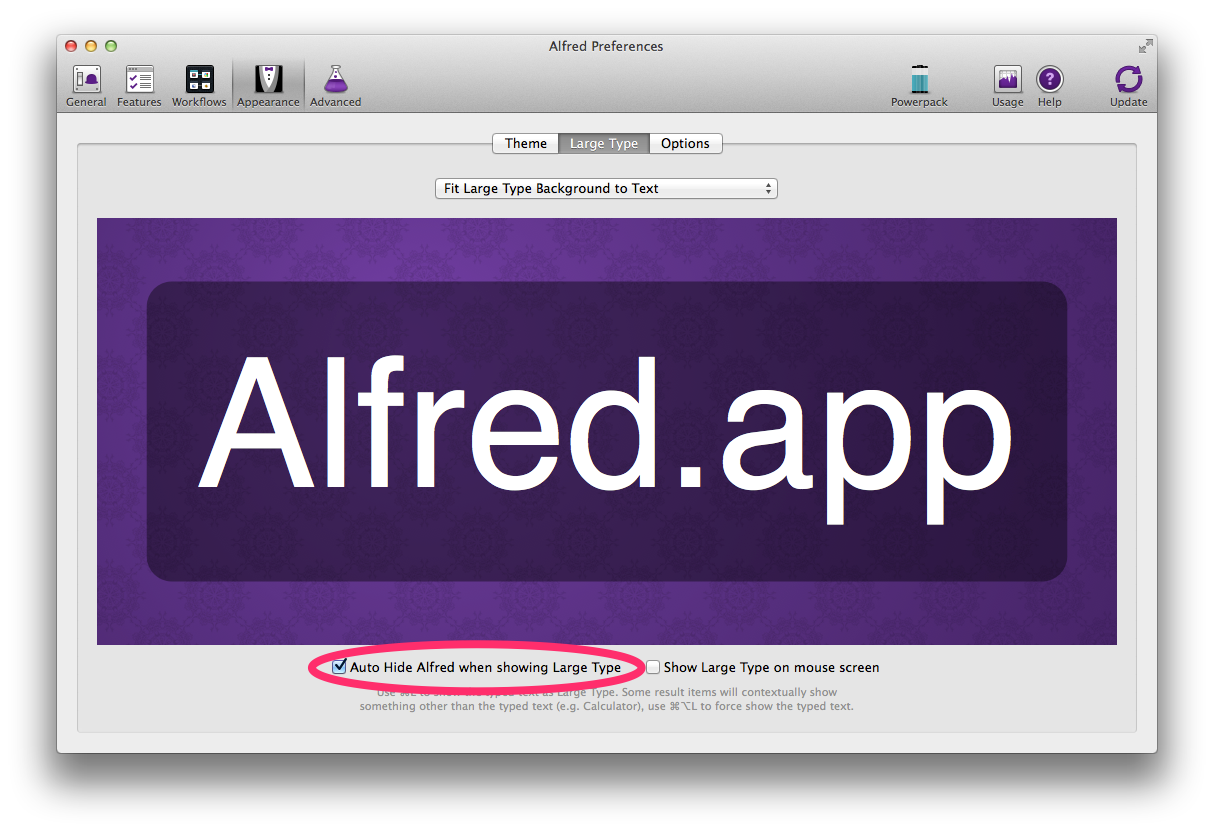 Turn on Auto-Hide Large Type in Alfred Prefs