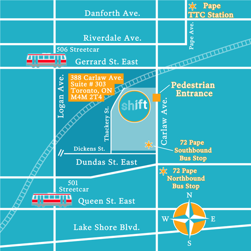 map of Shift office location at 388 Carlaw Ave, Unit 303 in Toronto