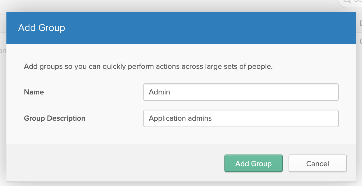 The add group dialog in the Okta dashboard