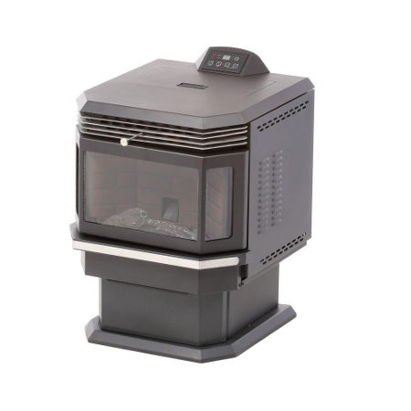 US Stove 5660 pellet stove with 2,200 square foot heating capability, from Home Depot.