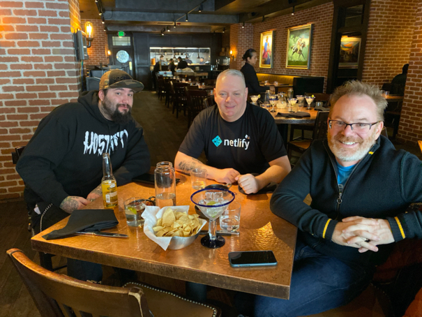 (From left to right, Chris DeMars, Todd Libby, and Jason pamental at La Loma in Denver at lunch posing for a photo.