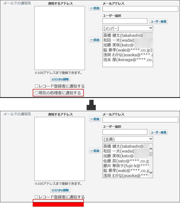 現在の処理者に通知するオプションが表示されなくなってしまった画像