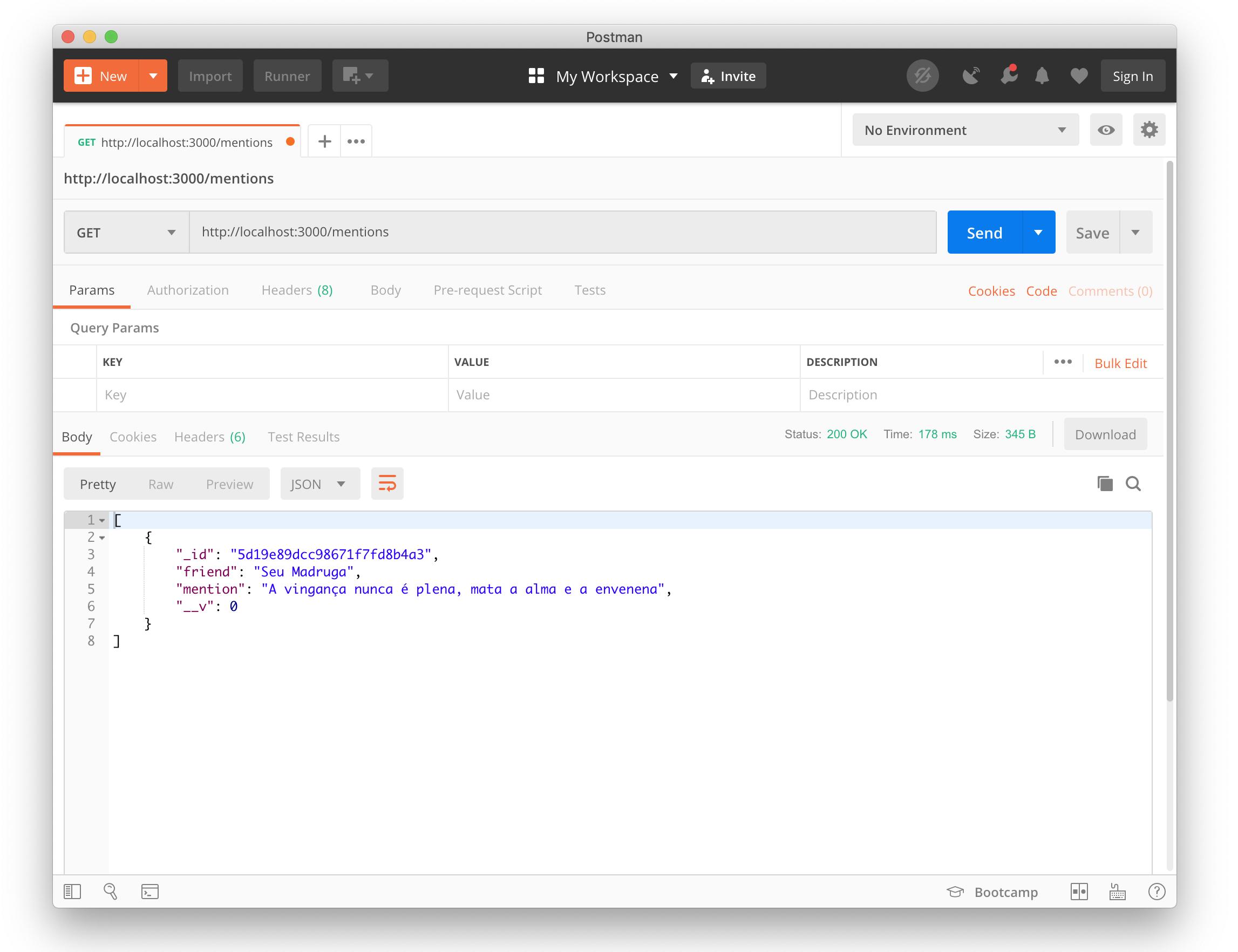 Imagem do Postman com o retorno OK da API