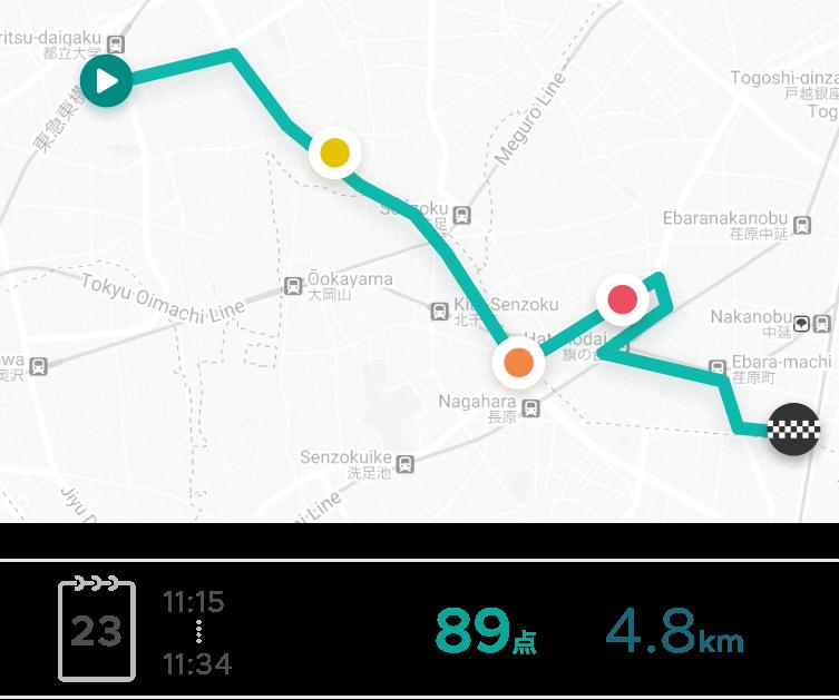 自分の走行ルートや、急操作の傾向がひと目で分かる