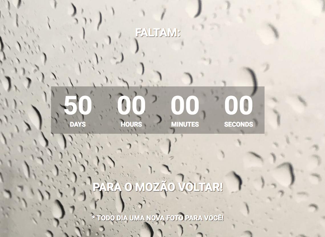 Imagem da tela do Volta Mozão faltando 50 dias