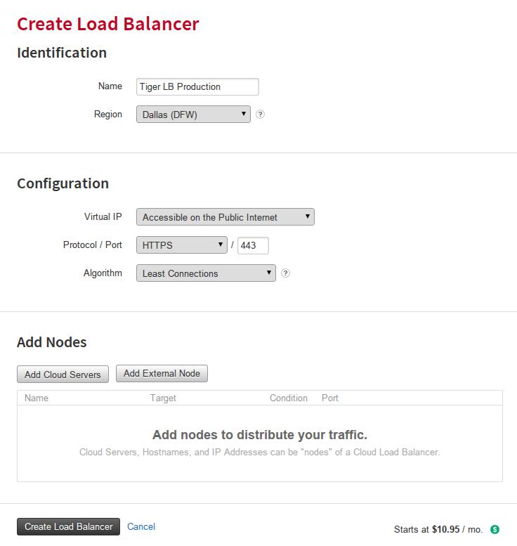 Create Rackspace Load Balancer