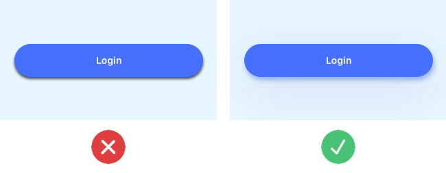 """Good UI design vs. bad UI design: A """"login"""" button with a heavy drop shadow next to a """"login"""" button with a subtle drop shadow effect"""