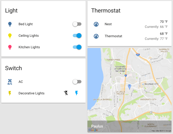Screenshot showing Google Maps integration in Home Assistant front end.