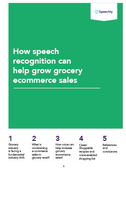 Speechly whitepaper PDF cover: How speech recognition can help grow grocery ecommerce sales