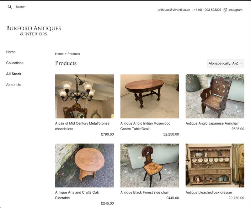 Antiques store product web page