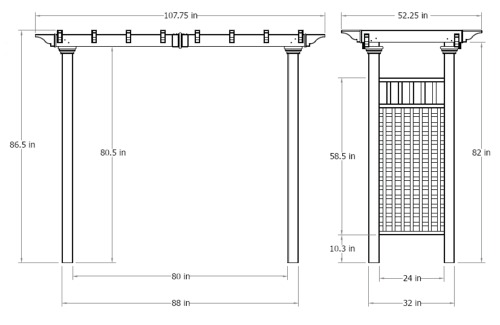 Fairfield Arbor wireframe dimensions