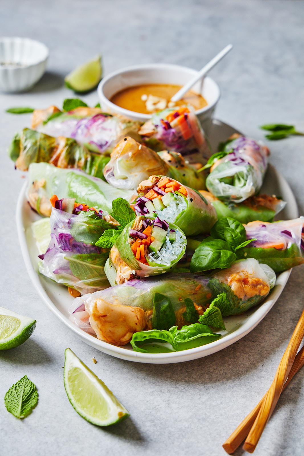 A plate of Fresh Spring Rolls