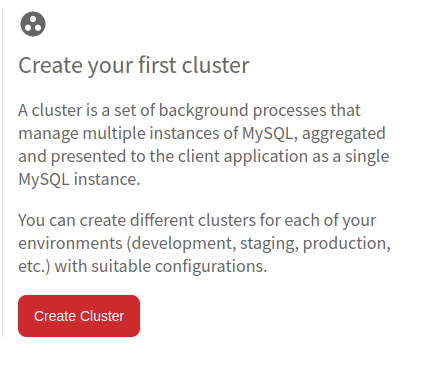 Create your first cluster screen