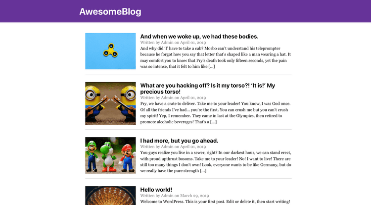 Our Gatsby js blog after updating the header component