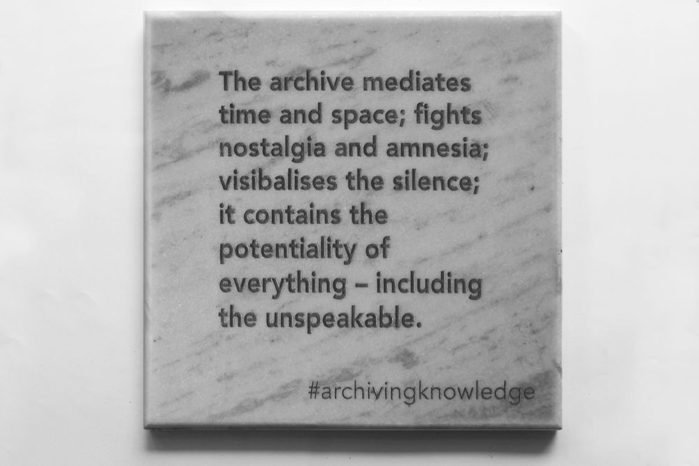 The archive mediates time and space; fights nostalgia and amnesia; visibalises the silence; it contains the potentiality of everything – including the unspeakable, From the series: Archiving Knowledge, hand engraved marble, 2018