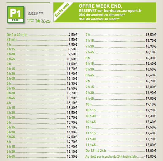 prix parking aeroport Bordeaux P1 proxi