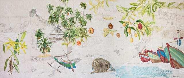 Archipelago 2, acrylic woodblock marine-charts collage on canvas