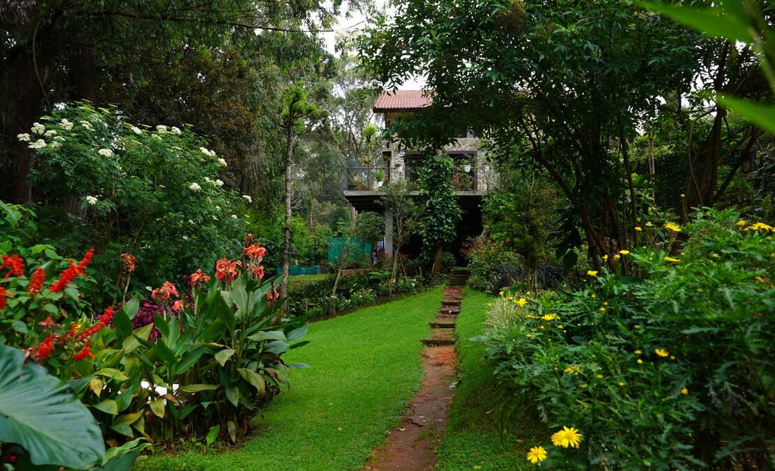 Sprawling garden at Gunina Adar Tea Estate Coonoor