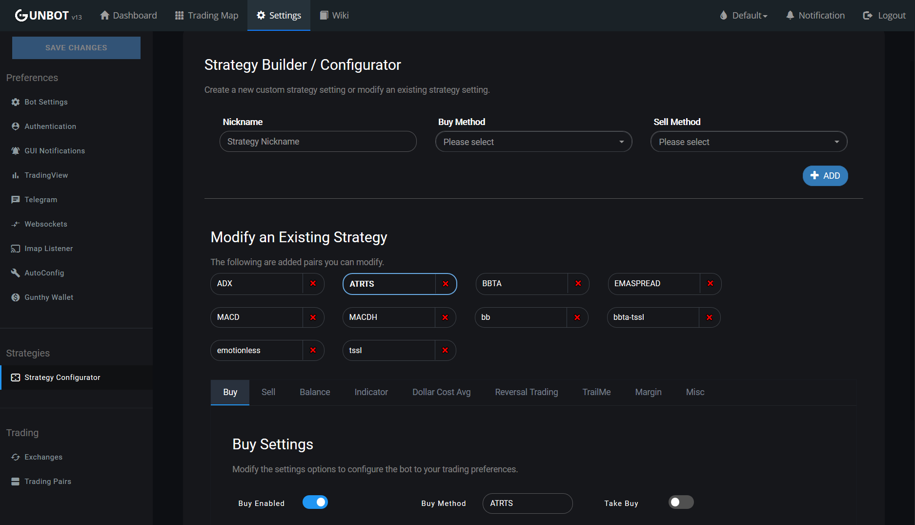 Gunbot strategy configurator for automated trading