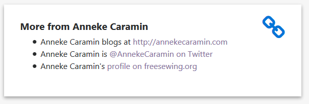 An example of links on a maker page. In this case, Anneke