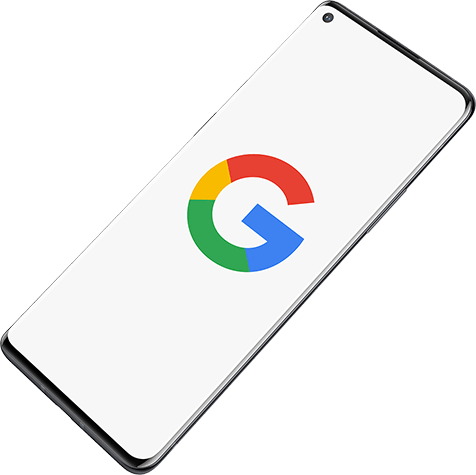 An Android phone showing the Google logo