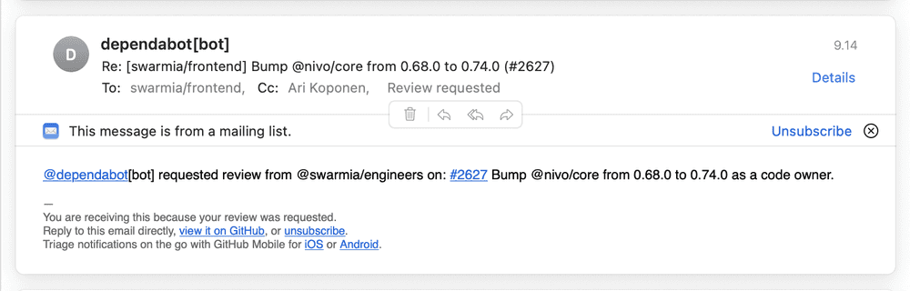 Example of an email sent from a PR based on a CODEOWNERS file