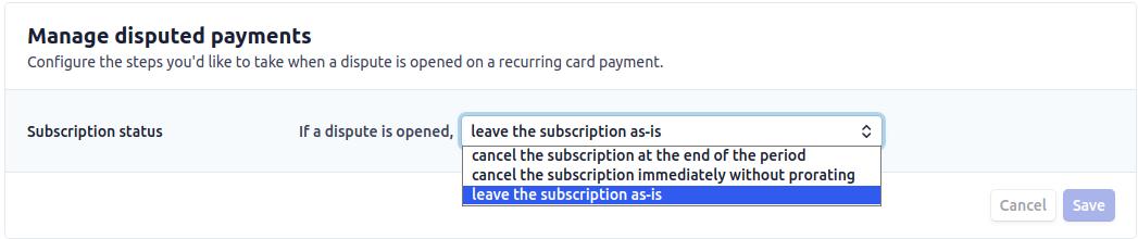 Manage disputes billing