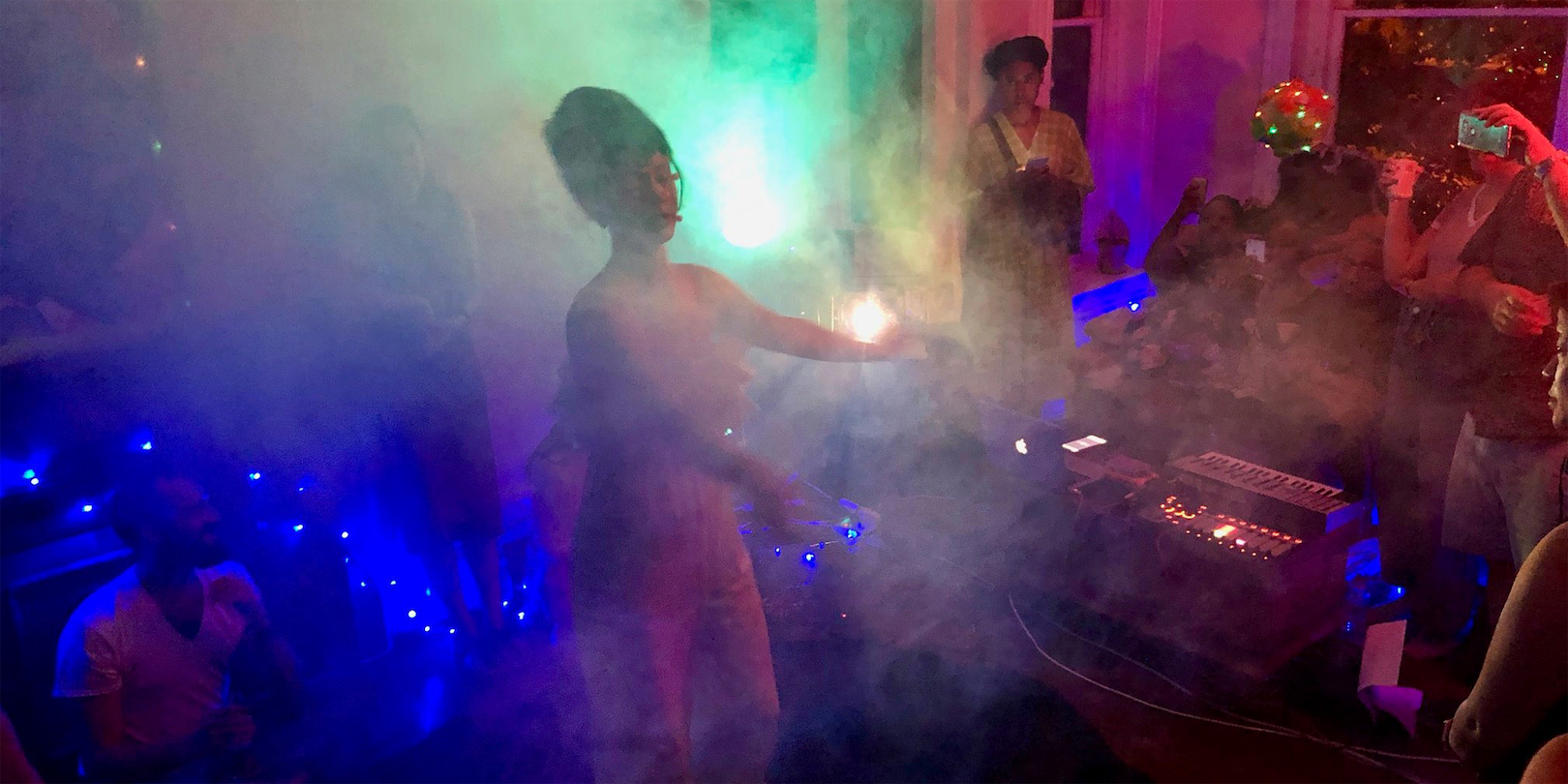 Photo of a smoky party room.