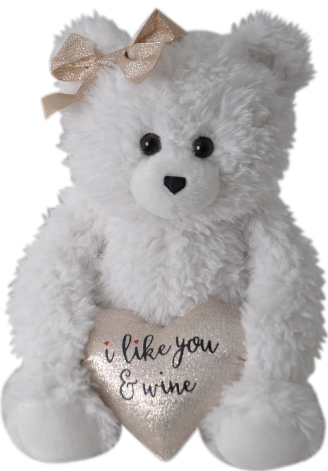 "The Petting Zoo: 11"" Valentine Joyful Bears & Bowtie ""I Like You & Wine"""