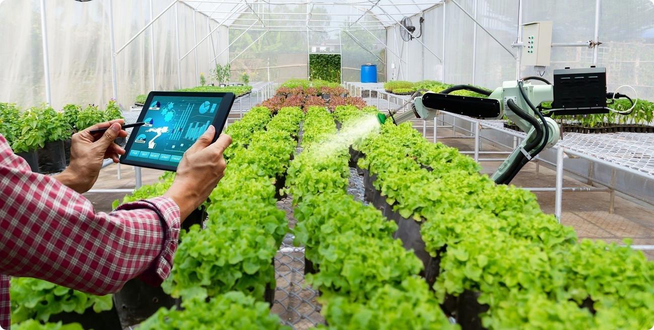 Industrie du futur 4.0 - deux mains tiennent une tablette comme pour prendre une photo du bras articulé d'un robot jaune. La tablette en plus de montrer le robot, donne des informations visuelles supplémentaires. o