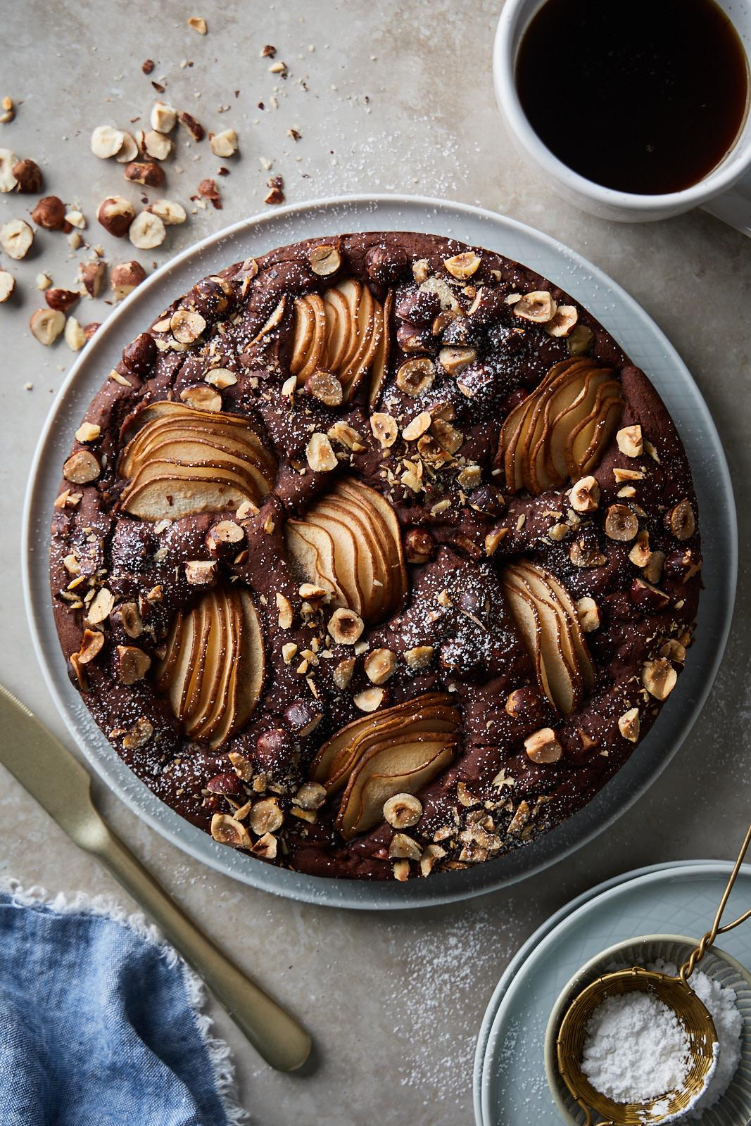 Chocolate Hazelnut Pear Cake
