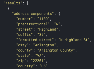 Example API result showing counties added to address via API